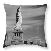 Statue Of Liberty And The Freedom Tower Throw Pillow