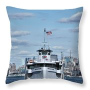 Statue Of Liberty Ferry Throw Pillow