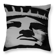 Statue Of Liberty In Black And White Throw Pillow