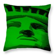 Statue Of Liberty In Green Throw Pillow