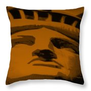 Statue Of Liberty In Orange Throw Pillow