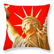 S T A T U E . O F . L I B E R T Y .  In Red Throw Pillow