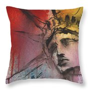 Statue Of Liberty New York Painting Throw Pillow