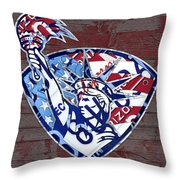 Statue Of Liberty On Stars And Stripes Flag Wood Background Recycled Vintage License Plate Art Throw Pillow