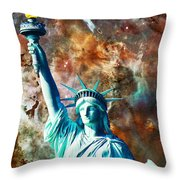Statue Of Liberty - She Stands Throw Pillow