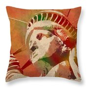 Statue Of Liberty Watercolor Portrait No 1 Throw Pillow