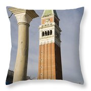 Statue Of Lion Of St. Mark And The San Marco Bell Tower Throw Pillow