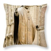 Statue Of Pope John Paul II Throw Pillow