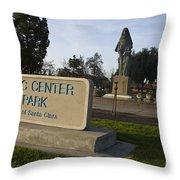 Statue Of Saint Clare Civic Center Park Throw Pillow