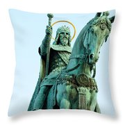 Statue Of Saint Stephen I - The First King Of Hungary In Budapes Throw Pillow