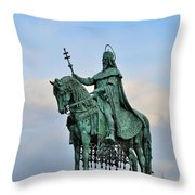 Statue Of St Stephen Hungary King Throw Pillow