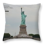 Statue With Colossus Throw Pillow