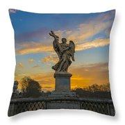 Statue With Cross Throw Pillow