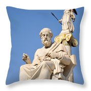 Statues Of Plato And Athena Throw Pillow