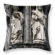 Statues Of The Aachen Cathedral Germany Throw Pillow