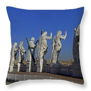 Statues On Facade Of St Peters Throw Pillow