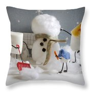 Stay Puff Snowman Throw Pillow