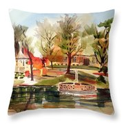 Ste. Marie Du Lac With Gazebo And Pond I Throw Pillow