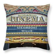 Steam Boat Willie Signage Main Street Disneyland 01 Throw Pillow