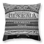 Steam Boat Willie Signage Main Street Disneyland Bw Throw Pillow