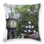 Steam Clock At Gastown In Vancouver Bc Throw Pillow