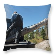 Steam Engine 489 At The Watering At Sublette Station On The Cumbres And Toltec Rr Throw Pillow