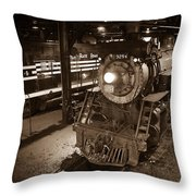 Steam Engine And Engineer Throw Pillow