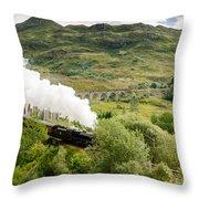 Steam Engine On Glenfinnan Viaduct Throw Pillow