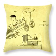 Steam Engine Patent 1869 Throw Pillow