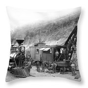 Steam Locomotive And Steam Shovel 1882 Throw Pillow by Daniel Hagerman