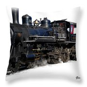 Steam Locomotive Throw Pillow by Gunter Nezhoda