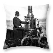 Steam Powered Rail Cart C. 1892 Throw Pillow