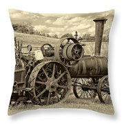 Steam Powered Tractor Sepia Throw Pillow