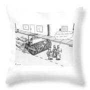 Steam Roller Driving Behind A Marching Band Throw Pillow