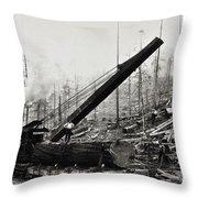 Steam Loader Loading Logs C. 1890 Throw Pillow