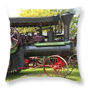 Steam Tractor Line-up Throw Pillow