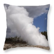 Steamboat Geyser Yellowstone Np Throw Pillow