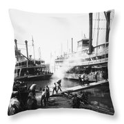 Steamboat Landing, 1906 Throw Pillow