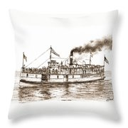 Steamboat Reliance Sepia Throw Pillow