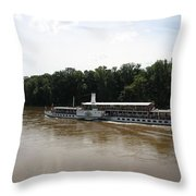 Steamboat River Elbe Germany Throw Pillow