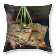 Steamed Food Parcels Throw Pillow