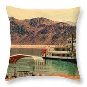 Steamer Along Lake Mead Throw Pillow