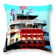 Steamer Natchez Paddleboat Throw Pillow