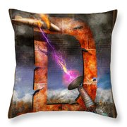 Steampunk - Alphabet - D Is For Death Ray Throw Pillow