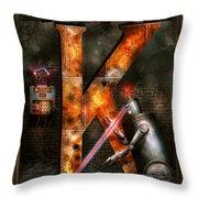 Steampunk - Alphabet - K Is For Killer Robots Throw Pillow