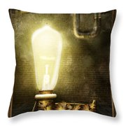Steampunk - Alphabet - L Is For Light Bulb Throw Pillow