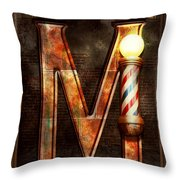 Steampunk - Alphabet - M Is For Mustache Throw Pillow