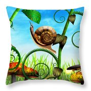 Steampunk - Bugs - Evolution Take Time Throw Pillow