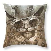 Steampunk Cat Throw Pillow