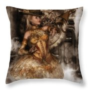 Steampunk Dragon Friend Throw Pillow